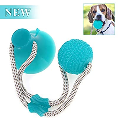 CHARMINER Pet Molar Bite Toy, Self Playing Dog Toy Suction Cup, Rubber Chew Ball Toy with Rope, Tug Dog Toy for Playing Tugging Pulling Chewing, Fit for Small, Large Dogs/Cats (Green)