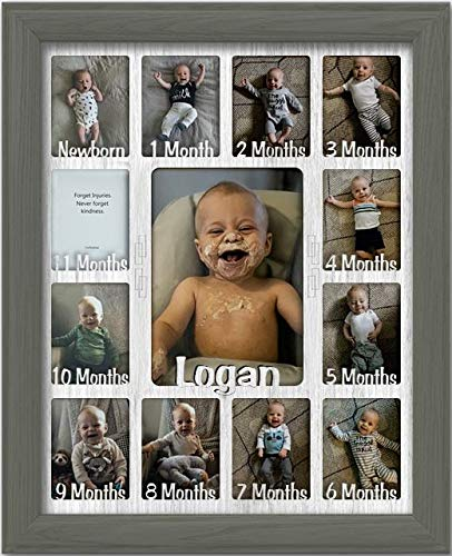 """Northland Baby First Year Personalized Frame - Holds Twelve 2.5"""" x 3.5"""" Newborn Nursery Decor Photos and 5"""" x 7"""" One Year Picture, Dark Gray Frame, White Mat, Customizable with Any Name"""