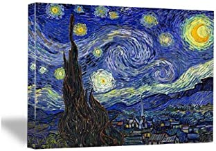 Wieco Art Starry Night Abstract Giclee Canvas Prints Wall Art by Van Gogh Famous Oil Paintings Modern Gallery Wrapped Classic Sky Star Pictures Artwork for Living Room Home Office Decorations