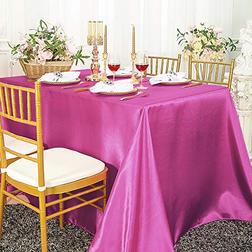 "Wedding Linens Inc. 90"" x 132"" Rectangular Seamless satin tablecloths Table Cover Linens for Restaurant Kitchen Dining Wedding Party Banquet Events - Magenta / Azelea"
