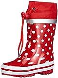Playshoes Stivaletti Pioggia-Punti Motivo, Stivali di Gomma Naturale Bambina, Rosso Rot 8, 24/25 EU
