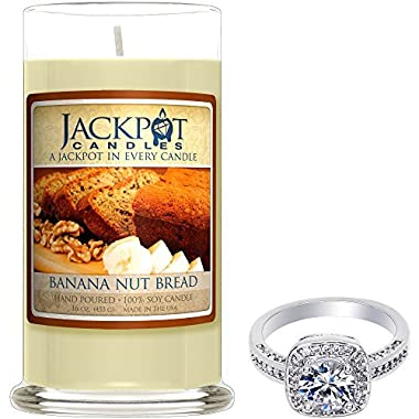 Natural Soy Candle with Jewelry Made in USA (Surprise Jewelry Valued at 15 to 5,000) Burn Time 80 to 100 Hours (Ring Size 7, Banana Nut Bread)