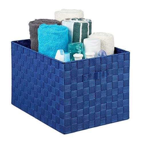Relaxdays Aufbewahrungskorb mit Griff, Kunststoff, Flechtoptik, HxBxT: 26 x 40 x 30 cm, Badezimmer Körbchen, blau