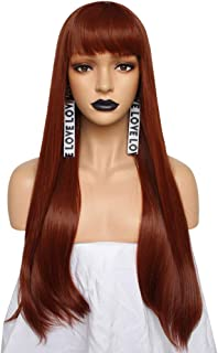 Anogol Hair Cap+Orange Red Synthetic Wig With Bangs Long Natural Wavy Full Wigs For Women Hair