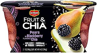 Del Monte Fruit & Chia Snack Cups, Pears in Blackberry Flavored Chia, 7 Oz, Pack of 2