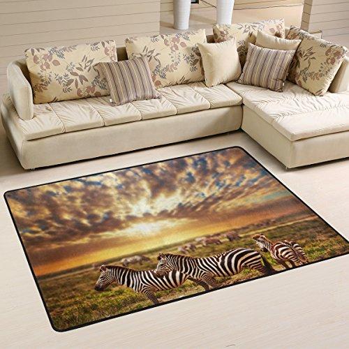 coosun Zebras Herde auf afrikanischen Savanne bei Sonnenuntergang Bereich Teppich Teppich rutschfeste Fußmatte Fußmatten für Wohnzimmer Schlafzimmer 182.9 x 121.9 cm, Textil, multi, 72 x 48 inch