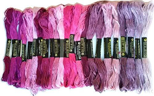 にゃんころ堂 綿 25番刺繍糸 DMCと同じ色番号 紫21色25本Cセット クロスステッチ、ミサンガ等に最適(紫C) 【並行輸入品】