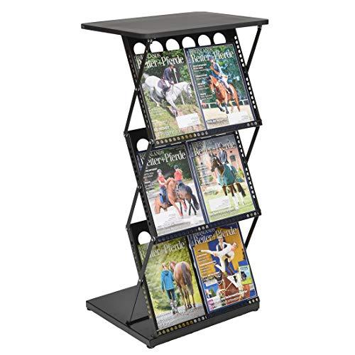 Display Sales Stehpult Prospektständer schwarz | Mobile Falttheke aus Metall mit 3 Ablagefächern für Kataloge, Flyer