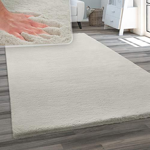 Paco Home Alfombra salón Piel Artificial Suave Pelo Largo Suave Lavable Distintos Colores, tamaño:160x230 cm, Color:Beige