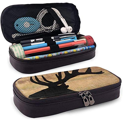 Huge Bull Elk Silhouette with Velvet Antlers PU Leather Pencil Pen Bag Pouch Case Holder School Office Cosmetic Makeup Bag