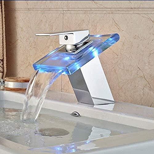 Grifo de la cocina LED RGB colores lavabo grifo cubierta montaje cascada latón baño recipiente fregadero mezclador acabado cromado