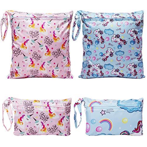 Bolsa Pañales, Comius Sharp 4 Piezas Bolsa de Pañales Reutilizable, Impermeable Organizador Pañales Bebe Bolsas Pañales, Bolsa para la Ropa de Bebé para pañales, ropa sucia y más (B)
