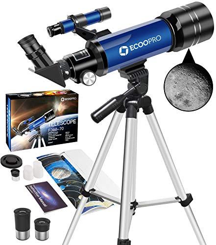 Teleskop Astronomie, Tragbares 70 mm Refraktor Fernrohr Teleskop Ideal für Kinder Einsteiger mit Verstellbarem Stativ, Okulare (K25&K10), Einfach zu Montieren, für Mond, Planeten und Landschaft