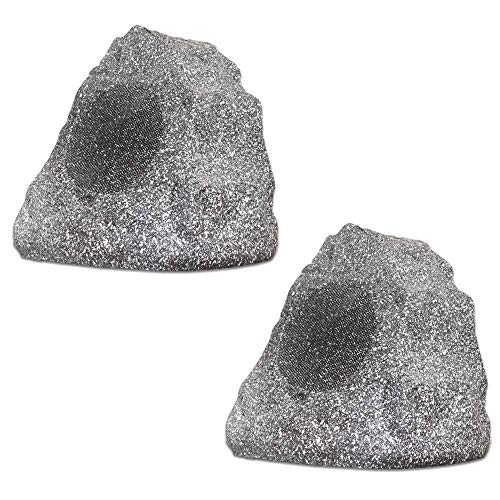 Theater Solutions 2R4G Outdoor Granite Rock 2 Speaker Set for Deck Pool Spa Patio Garden