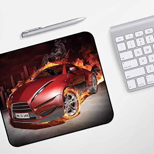 Gaming Mousepad Mauspad,Autos, rote Sportwagen Burnout Reifen in Flammen lodernden Motor heißes Feuer Rauch Automobil dekorativ, rot s,Komfort Mousepad - verbessert Präzision und Geschwindigkeit