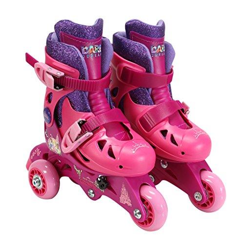 PlayWheels Disney Princess Convertible 2-in-1 Children's Roller/Inline Skates, Junior Size 6-9