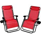 Sunnydaze Outdoor XL Zero Gravity Lounge Chair with Pillow and Cup Holder, Folding Patio Lawn Recliner, Red