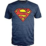 DC Comics Superman Logo Navy Heather T-Shirt Officially Licensed (XL)