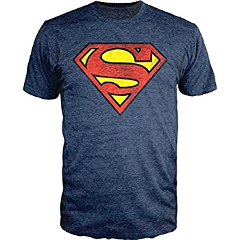 DC Comics Superman Logo Navy Heather T-shirt Officially Licensed  M