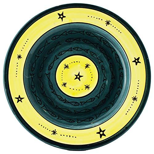 Orientalische Keramikschale Keramikteller Samak Gelb Grün 26cm | farbige marokkanische Keramik Schale Teller rund aus Marokko | Orient große Keramikschalen flach Geschirr orientalisch handbemalt