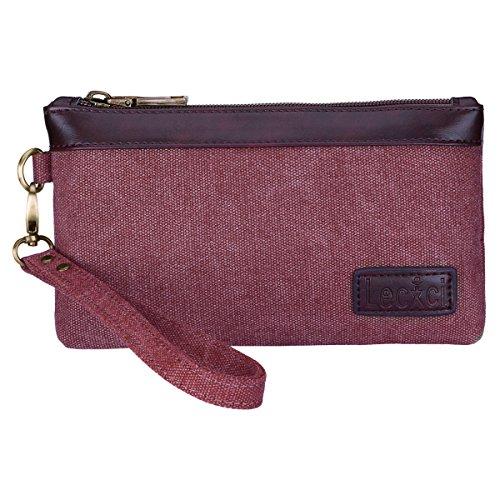 Lecxci Women's Canvas Smartphone Wristlets Bag, Clutch Wallets Purses for iPhone 6S/7 Plus/8 Plus/XS (Wine)