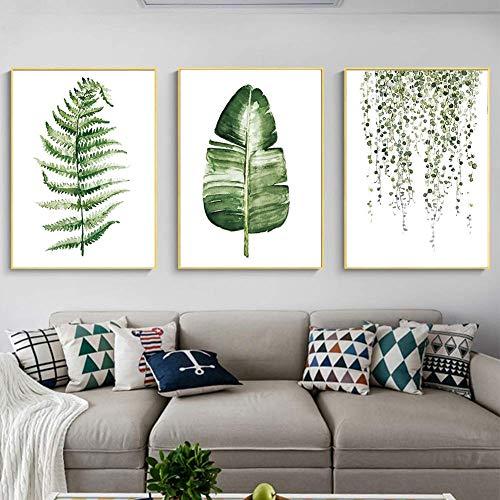 Pintura de lienzo - 3Pcs/Set Estilo rural Plantas verdes Cuadro de pintura de lienzo Moderno para sala de estar Dormitorio Decoración
