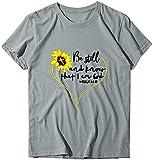 NOBRAND Novelty Camiseta de manga corta con diseño de girasol, con texto en inglés 'Be Still and Know That I Am God' Gris gris XXX-Large