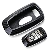 iJDMTOY Exact Fit Black Glossy Carbon Fiber Finish Key Fob Shell Compatible With Ford 2018-up Mustang F150 F250 Explorer Expedition Keyless Smart Key