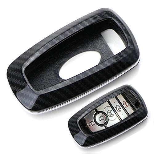 iJDMTOY Exact Fit Black Glossy Carbon Fiber Finish Key Fob Shell Compatible...