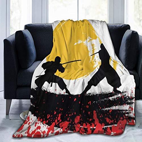 VINISATH Kuscheldecke Fleecedecke Flanell Decke Japanische Aquarellart-Ninjas im Mondlicht-Mittelalter Blanket Für Bett Sofa Schlafzimmer Büro 127x150cm