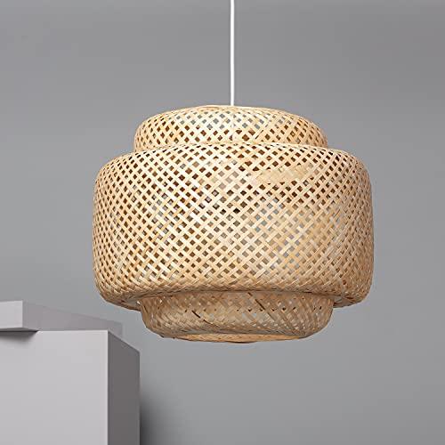 LEDKIA LIGHTING Lámpara Colgante Nagua Ø420x390 mm Natural E27 Casquillo Gordo Bambú Decoración Salón, Habitación, Dormitorio