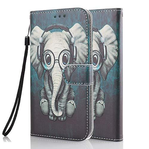 Coeyes Handyhülle kompatibel für Huawei P30 Lite Hülle Leder Tasche Flip Hülle 3D Muster Design mit kartenfach Brieftasche Etui Schutzhülle Cover Lederhülle - Elefant