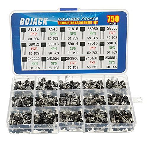 BOJACK 15 Valores 750 piezas A1015 C945 C1815 S8050 S9050 S9012 S9013 S9015 S9018 2N2222 2N3904 2N3906 2N5401 2N5551 PNP NPN Alimentación Transistores de propósito general Kit de surtido