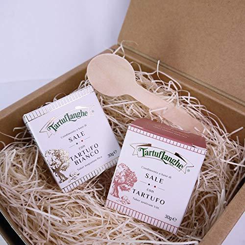ギフト タルトゥフランゲ社 白トリュフ塩 黒トリュフ塩 セット 木のスプーン・ギフトボックス イタリア産
