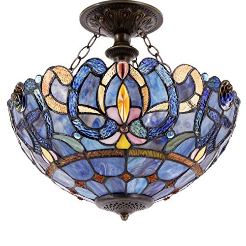 Tiffany Ceiling Fixture Lamp Semi Flush Mount 16 Inch Blue Purple Clouldy Stained Glass Shade Pendant Hanging 2 Light Fixture for Dinner Room Living Room Bedroom S558 WERFACTORY