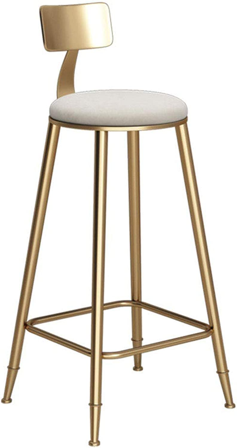 Simple golden Bar Desk Dessert Shop Coffee Restaurant Lounge Chair Backrest High Stool Bar Chair Bar Stool (Size   46x46x68cm)