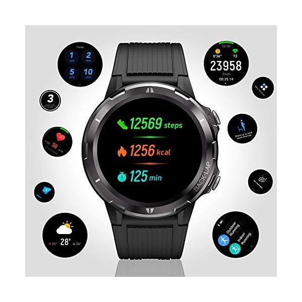 Reloj Inteligente Hombre Mujer, GRDE Smartwatch Redondo 12 Modo Deportivo con (Monitor de Ritmo Cardíaco/Sueño/Calorías… 4