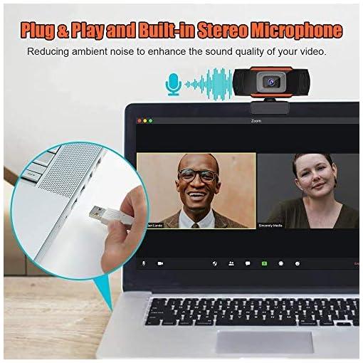 Webcam PC 1080P Full HD con Micrófono Estéreo, Portátil Cámara Web USB 2.0 Reducción de Ruido,Web CAM de Enfoque Fijo… 5