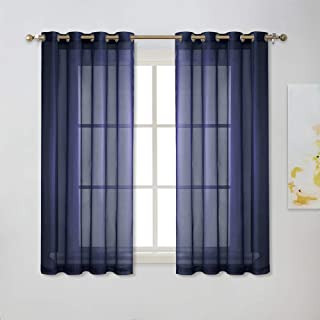 """NICETOWN Sheer Window Curtains 45"""" – Ring Top Transparent Gauzy Voile Room.."""