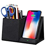 COSOOS Fast Wireless Charger with Desk Organizer, Qi Desk Phone Charger Compatible with 12/12 Pro/12 Pro Max/12 Mini/SE /11/11 Pro Max/XS, Galaxy S20/S20+/S10/Note 10/Note 9/(No AC Adapter)