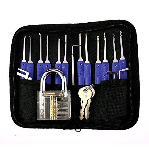 Professionele 17 delige Lock Pick Set +1 transparante hangslot met kunststof beugel voor Slotenmaker training Slotenmaker gereedschap Handgereedschap