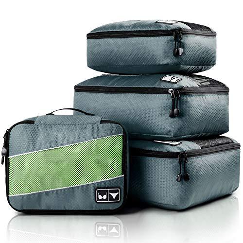 4 Set Packing Cubes, Various Sizes Travel Luggage Bags Organizers (Grey)