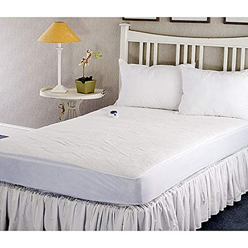 Soft Heat Safe and Warm Microplush Heated Mattress Pad, White Size Full