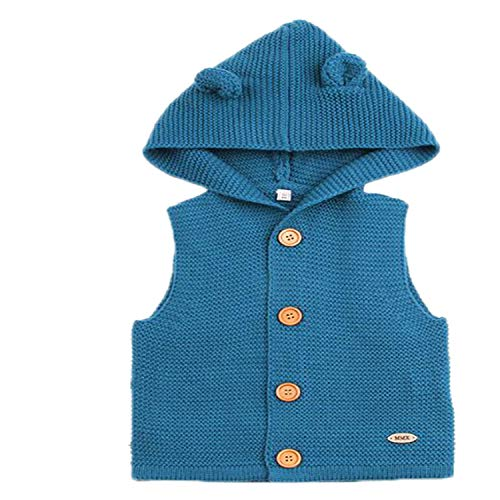 New Baby Sweater Boys Cardigan Autumn Winter Fur Collar Knitted Jacket Coat Toddler Kids Cardigan Navy Blue 9M