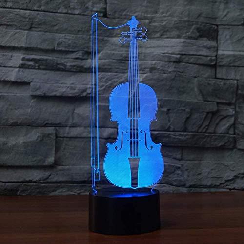 3D-IllusionslampeNachtlicht Kinder Geige voller Tischlampe Kinder Baby Schlafzimmer Schlaf Stimmung Licht-Touch-Schalter USB7 Farben(Fernbedienung)