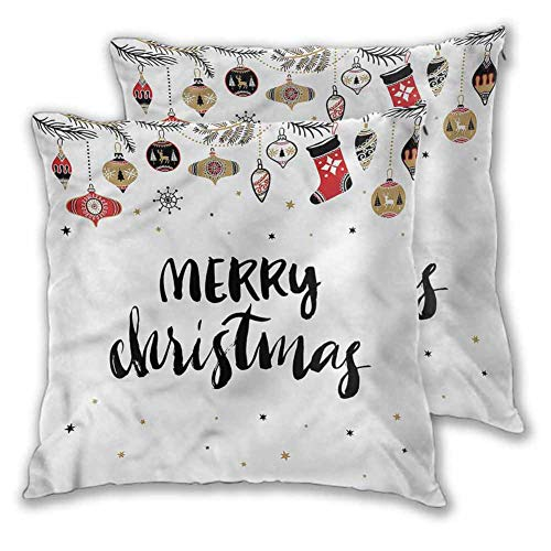 Xlcsomf Christmas Pillowcases, 18 x 18 Inch Modern Inspiring Quote Comfortable and soft Christmas decoration Set of 2