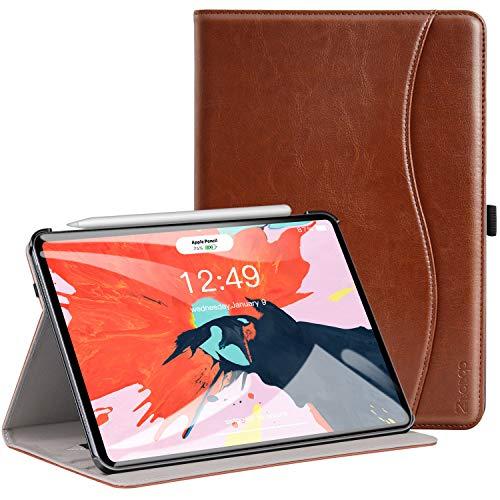 ZtotopCase Custodia per iPad PRO 11' 2018,Custodia in Pelle,con Supporto,Tasca,Supporta la Ricarica Wireless per la Pencil di 2a Generazione,Funzione Sveglia/Sonno Auto,Marrone
