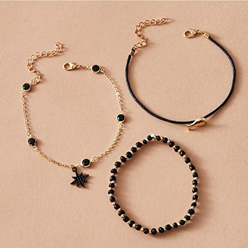 Vvff 4Pcs Black Crystal Star Anklet Set For Women Mini Small Fish Seed Beaded Foot Chains Female Party Jewelry Size About 20Cm
