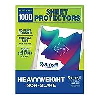 Samsill 50枚パック 厚手 ノングレア シートプロテクター 無酸性 & アーカイブ安全 8.5 x 11インチ トップローディング