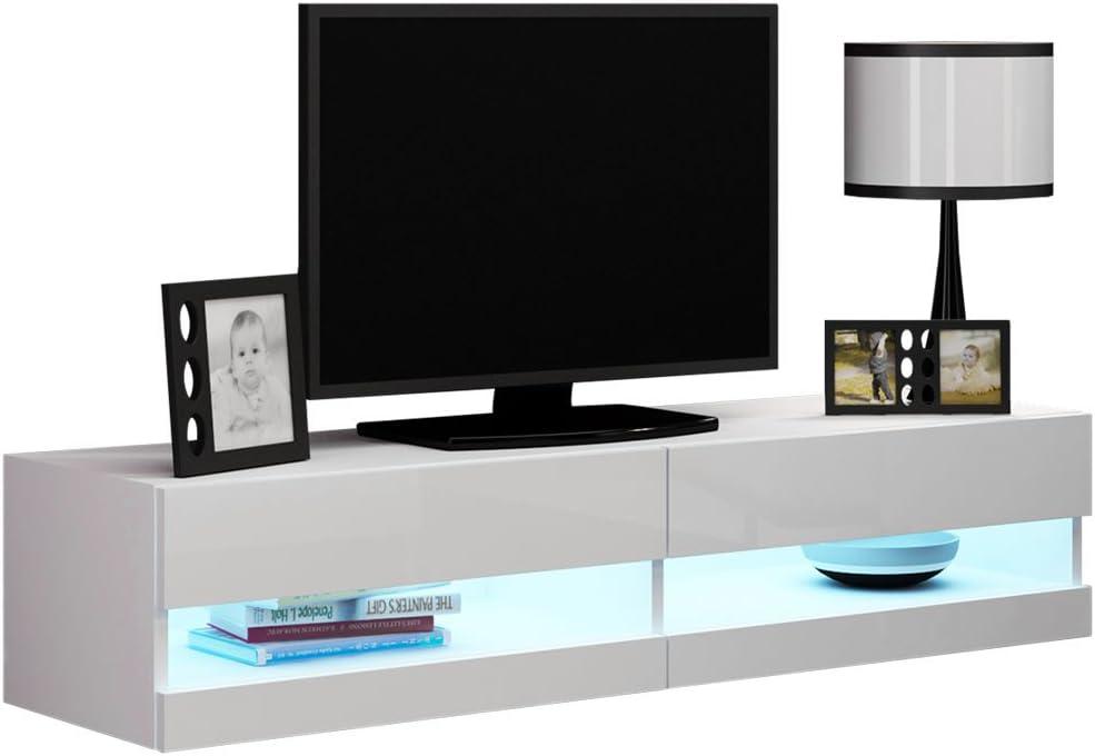madera TV Regal 140 cm LCD Fernsehschrank Rack HiFi Lowboard Design M/öbel Schrank Chrom